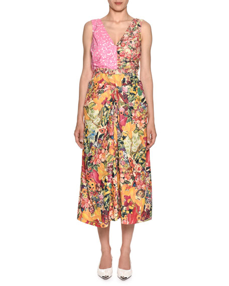 Sleeveless V-Neck Mixed-Print A-Line Midi Dress in Pink