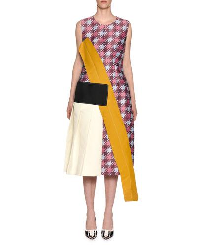 Sleeveless Macro Houndstooth Multi-Fabric Midi Dress
