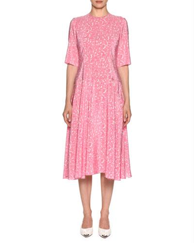 Elbow-Sleeve Lily-Print Silk Woven Midi Dress