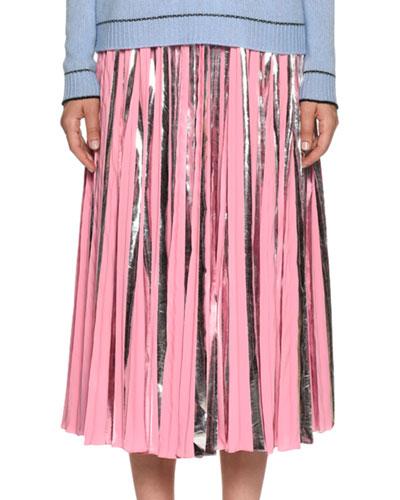 Plisse Foil Ankle-Length Skirt