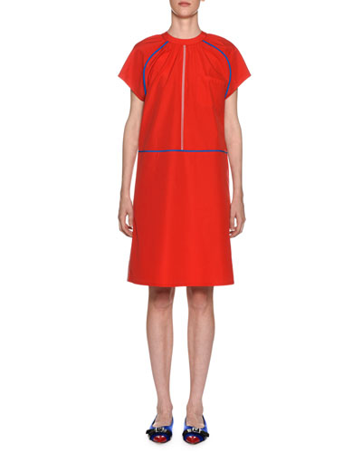 Crewneck Short-Sleeve Poplin Shift Dress w/ Contrast Piping