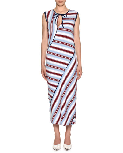Sleeveless Striped-Knit Ankle-Length Dress