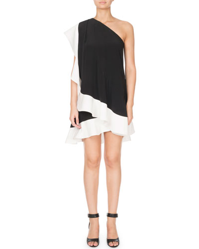 One-Shoulder Bicolor Asymmetric Crepe Mini Dress w/ Ruffle Detail