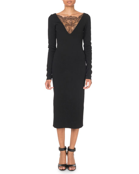 Givenchy Long-Sleeve Lace-Trim Midi Dress