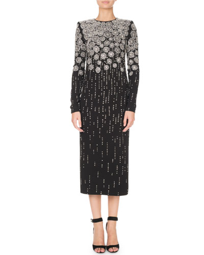 Long-Sleeve Jewel-Neck Crystal-Embroidered Ankle-Length Cocktail Dress