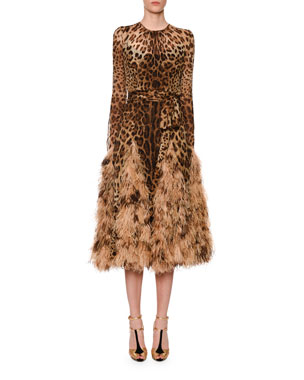 c40ede6a77de Dolce   Gabbana Long-Sleeve Leopard Print Chiffon Ostrich-Feather Hem Dress