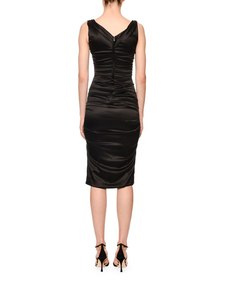 Scoop-Neck Sleeveless Ruched Satin Dress