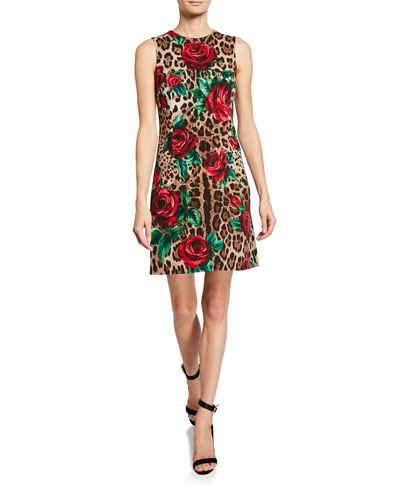 Leopard Print and Rose Sleeveless Dress