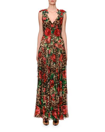 Rose-Embellished Leopard-Print Chiffon V-Neck Gown