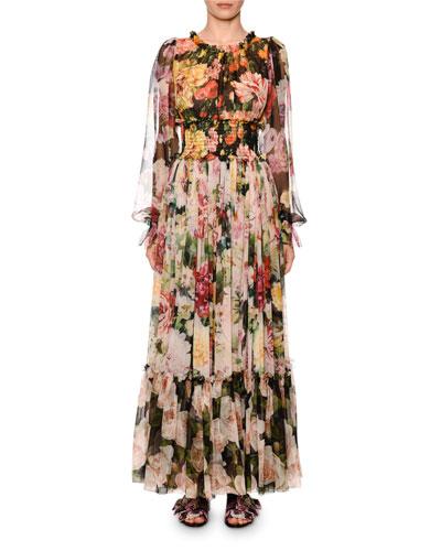 Blouson-Sleeve Floral-Print Chiffon Gown