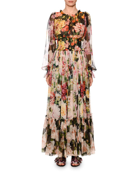 Blouson-Sleeve Floral-Print Chiffon Gown in Black