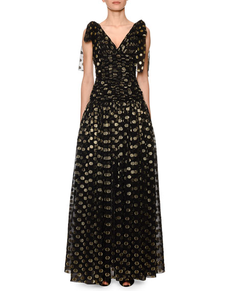 Dolce & Gabbana Flutter-Sleeve Fil Coupe Dotted Chiffon