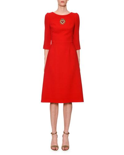 3/4-Sleeve Sacred Heart-Patch Wool-Crepe Midi Dress