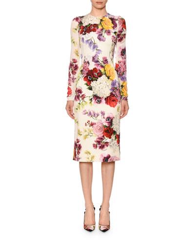 Long-Sleeve Floral-Print Charmeuse Sheath Dress