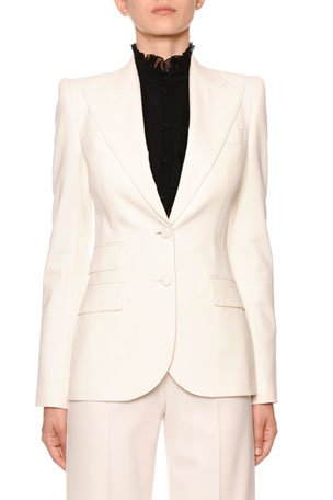 Dolce & Gabbana Single-Breasted Stretch-Wool Blazer