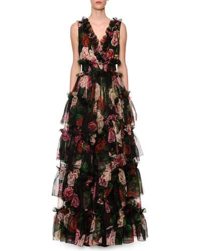 Rose-Print Frilled Organza V-Neck Gown