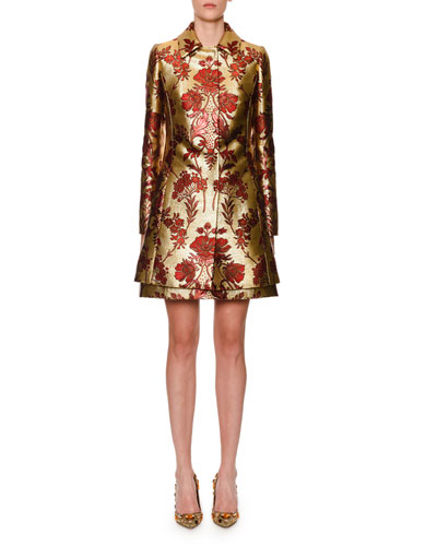 Metallic Floral-Jacquard Button-Front Coat