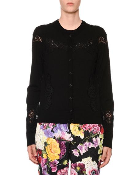 Dolce & Gabbana Crewneck Button-Front Lace-Inset Cardigan