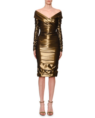 Off-The-Shoulder Ruched Stretch-Metallic Cocktail Dress