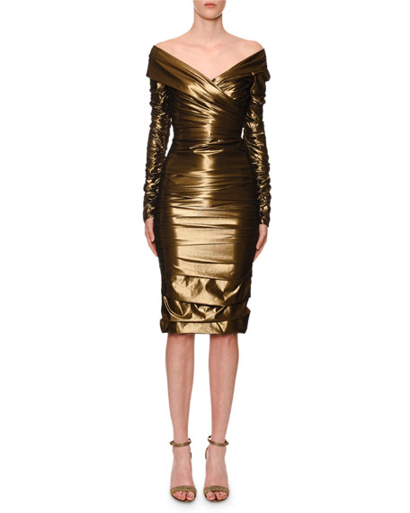 Dolce & Gabbana Off-The-Shoulder Ruched Stretch-Metallic Cocktail