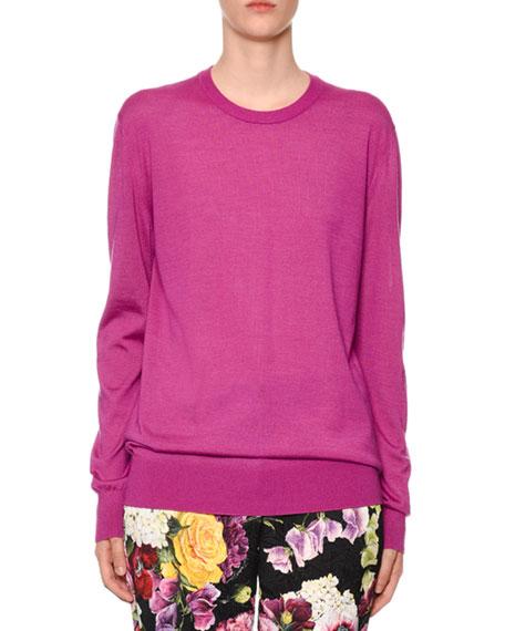 Dolce & Gabbana Crewneck Long-Sleeve Cashmere-Silk Sweater