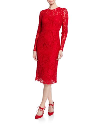Long-Sleeve Floral-Lace Midi Dress