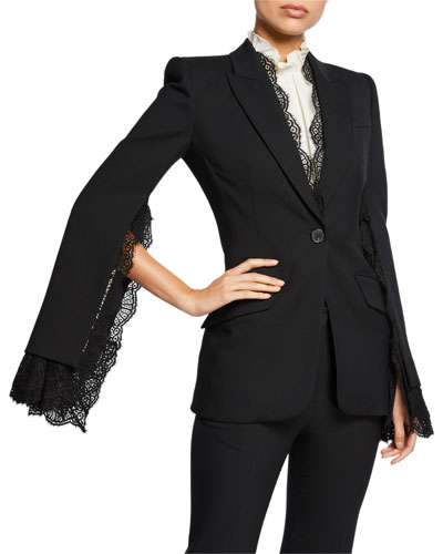 Lace-Trim Leaf Crepe Blazer