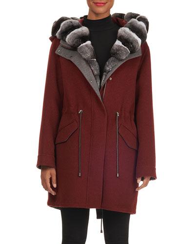 Hooded Wool-Cashmere Parka Jacket w/ Detachable Vest & Chinchilla Trim