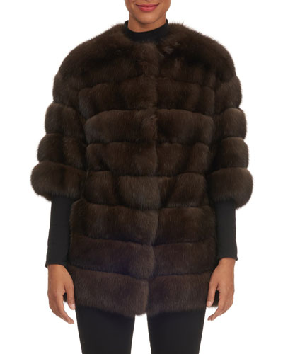 Crop-Sleeve Horizontal-Quilted Russian Sable Jacket