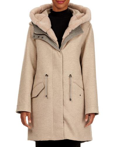 Loro Piana Wool-Cashmere Parka Jacket with Detachable Mink Fur Vest