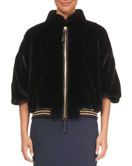 TSOUKAS Mink Fur Half-Sleeve Jacket in Black
