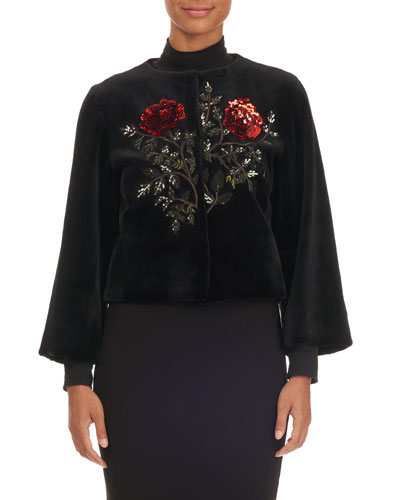 Rose-Sequined Mink Fur Bolero Jacket