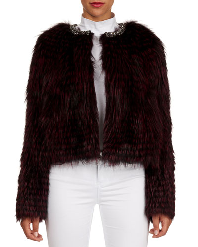 Jewel-Neck Layered Fox-Fur Jacket