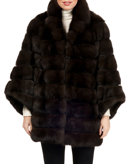 MAURIZIO BRASCHI Horizontal Sable Fur Jacket in Brown