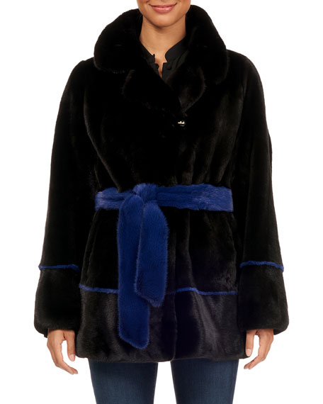 MAURIZIO BRASCHI Notch-Collar Mink Fur Jacket W/ Belt in Black/Blue