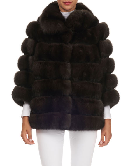 MAURIZIO BRASCHI Horizontal-Quilted Sable Fur Jacket in Brown