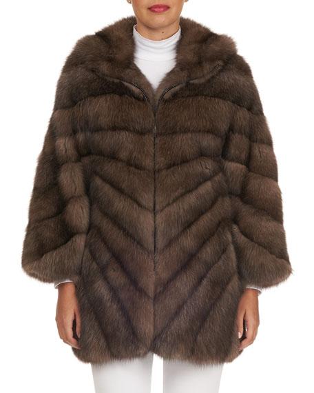 TSOUKAS Russian Sable-Fur Stroller Coat in Brown