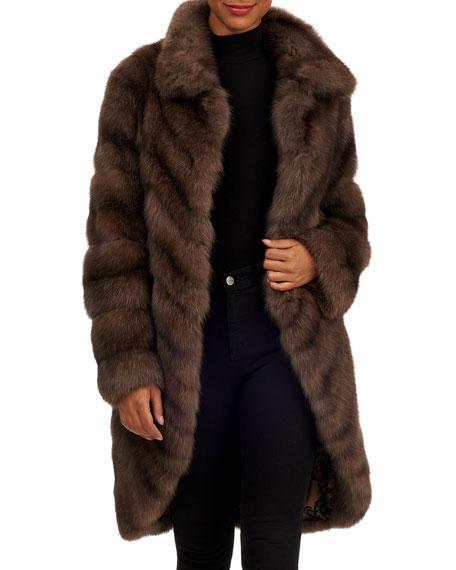 TSOUKAS Russian Sable Fur Short Coat in Brown