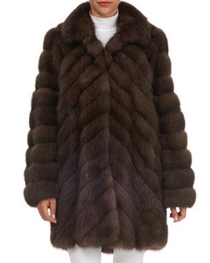42785b70f038e Tsoukas Chevron-Quilted Russian Sable Fur Stroller Jacket