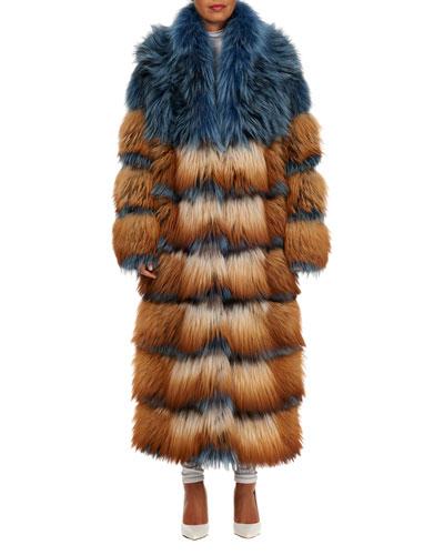 Horizontal-Quilted Fox-Fur Coat