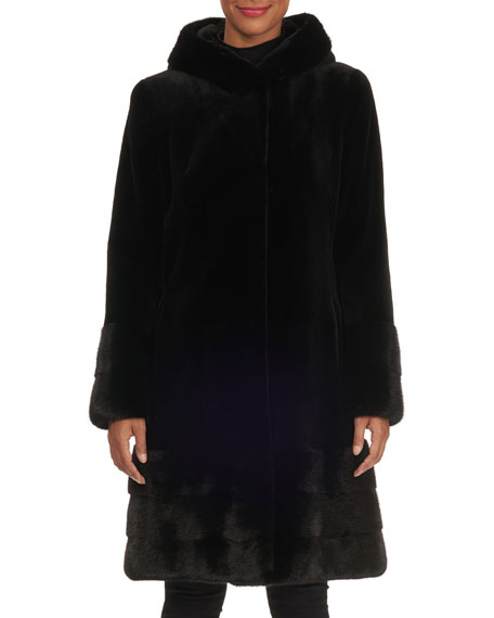 NORMAN AMBROSE Sheared Mink-Fur Short Coat With Nap Trim in Black
