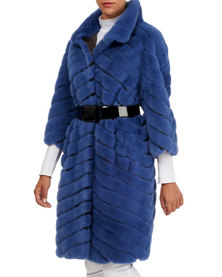 MAURIZIO BRASCHI Chevron Mink Stroller Coat W/ Leather Inserts in Blue