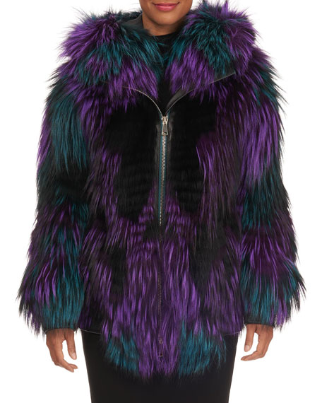 Layered Multicolor Fox Fur Zip-Front Parka