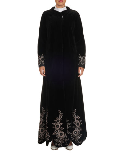 Floral-Embroidered Sheared Mink Duster