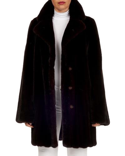 Notched-Collar Mink Fur Stroller Coat