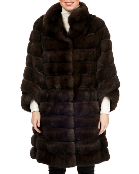 Russian Sable Fur Horizontal Stroller Coat W/ Leather Belt in Brown