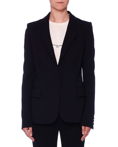 Fitted One-Button Classic Wool Blazer