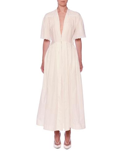 V-Neck Eyelet Embroidered Midi Dress
