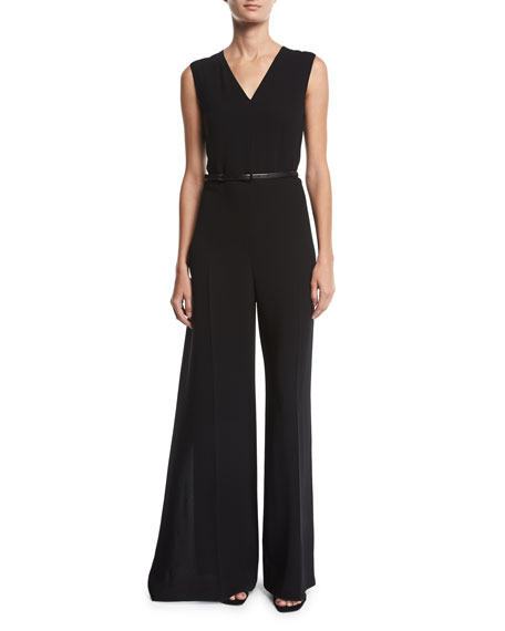 Belted Sleeveless V-Neck Wide-Leg Jumpsuit in Black