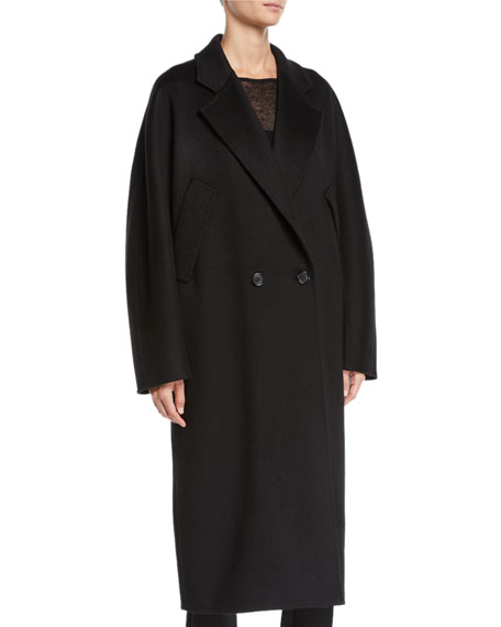 Zelig Cashmere Long Cape Coat in Black